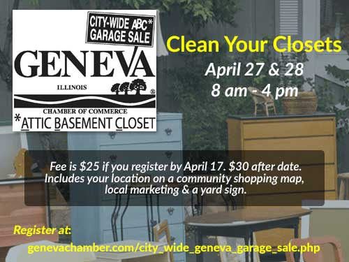 Geneva Chamber Garage Sales April 27 & 28, 2018