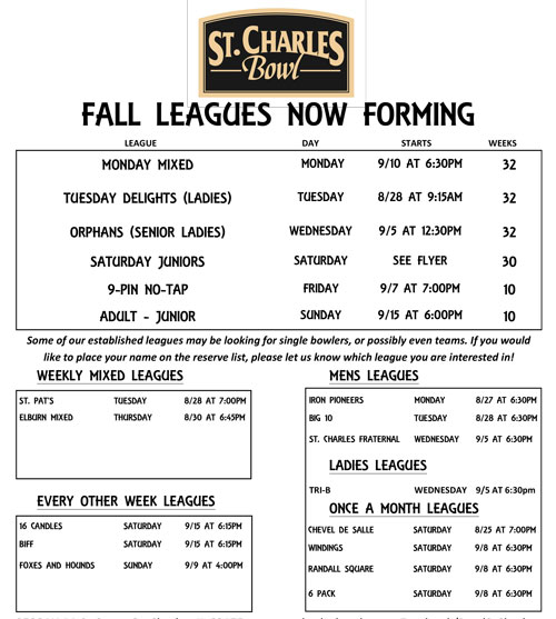 Fall Leagues Now Forming at St. Charles Bowl