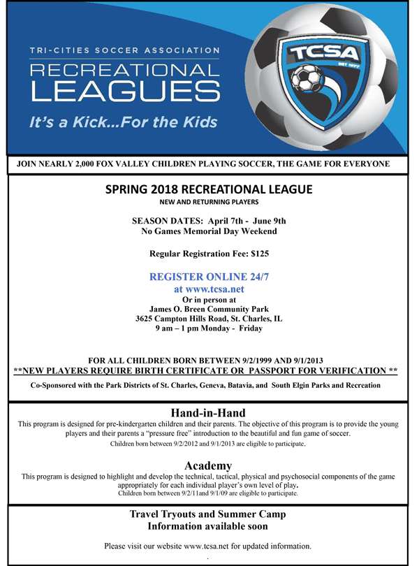 Spring 2018 Recreational Soccer with TCSA