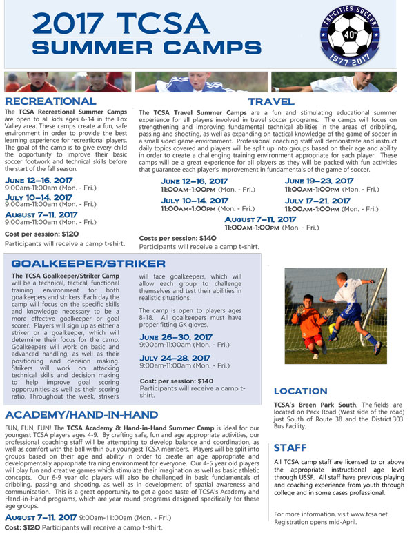 2017 Summer Camps at Tri Cities Soccer Association